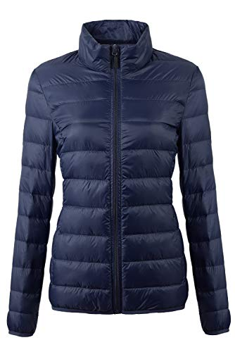 Fantiny Women's Ultra Light Weight Collar Down Jacket Packab