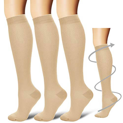 (Compression Socks,(3 pairs) Compression Sock for Women & Men - Best For Running, Athletic Sports, Crossfit, Flight Travel - Suits Nurses, Maternity Pregnancy, Shin Splints - Below Knee High, Nude, S/M)