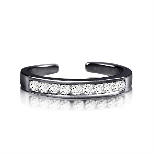 Black Rhodium Plated Sterling Silver Toe Rings Round Cut Cubic Zirconia White Channel - Toe Black Ring