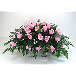 R18 Pink Rose Buds Cemetery Flower Arrangement, Headstone Saddle, Grave, Tombstone Arrangement, Cemetery Flowers 93