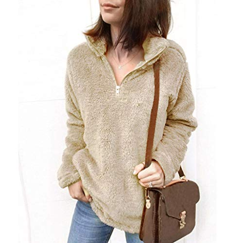 Sunhusing Womens Solid Color Fluffy Faux Fur Long-Sleeve Zipper Stand Collar Loose Casual Sweatshirt Top at Amazon Womens Clothing store:
