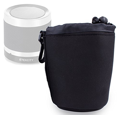 DURAGADGET Jet Black Super-Soft Nylon Pouch in Size Medium for Etekcity RoverBeats T3 Ultra Portable Wireless Bluetooth Speaker