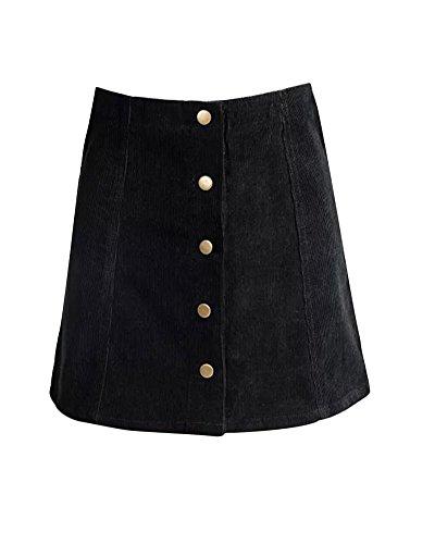 Gamery Women's High Waist Faux Suede Button Closure Plain A-line Mini Short Skirt X-Small Black ()