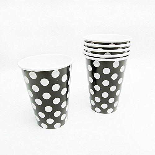 Black Polka Dot 12 oz. Cups