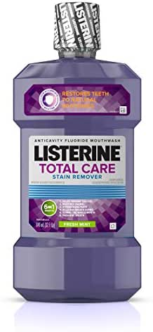 Listerine Total Care Whitening Mouthwash, 6 Benefit Fluoride Anticavity Mouthwash for Stain Removal and Bad Breath, Fresh Mint Flavor, 32 fl. oz