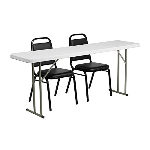 Offex 18'' x 72'' Plastic Folding Training Table Set with 2 Trapezoidal Back Stack Chairs