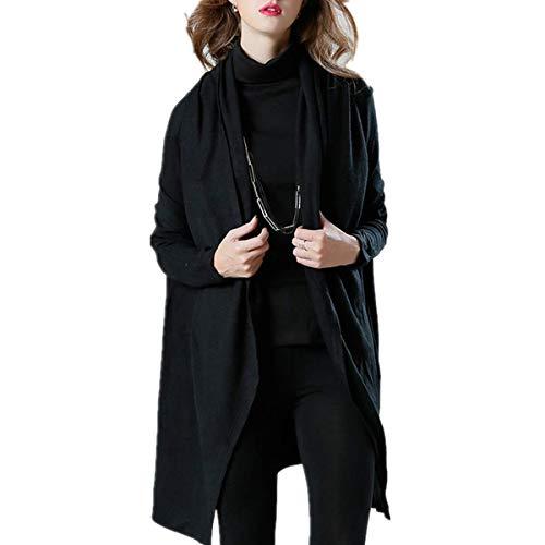 Fanessy Mujer Manga Abrigo Para Larga Chaqueta Negro rqXrEwUx