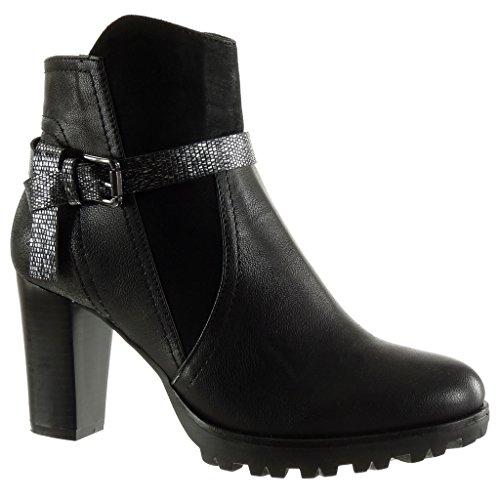 Angkorly Damen Schuhe Stiefeletten - Reitstiefel - Kavalier - BI-Material - Schlangenhaut - String Tanga - Schleife Blockabsatz High Heel 8 cm Schwarz