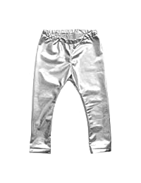 Evelin LEE Kids Girls Metallic Leggings Shiny Soft Skinny Pants Dance Trousers