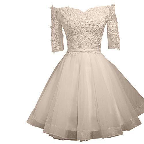 Cocktailkleider Mini Abendkleider Brautjungfernkleider La Marie Beige Spitze Suessig Rosa Braut Rock nfPqY