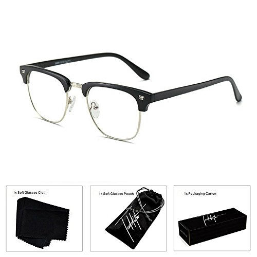 Teddith Blue Light Blocking Computer Glasses Anti Glare Reading Lens Half - Blue Lenses