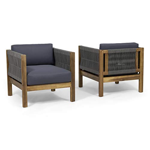 Charlotte Outdoor Club Chair (Set of 2), Teak and Gray