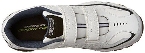 Skechers Sport ¨ Afterburn Grà ve Memory Foam Sneaker gancho y hebilla Blanco/ azul marino