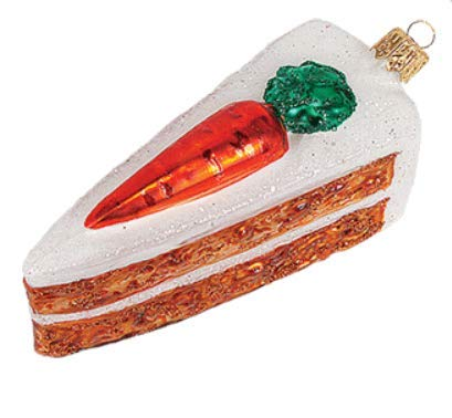 - Carrot Cake Slice Food Chef Baker Polish Glass Christmas Ornament Decoration