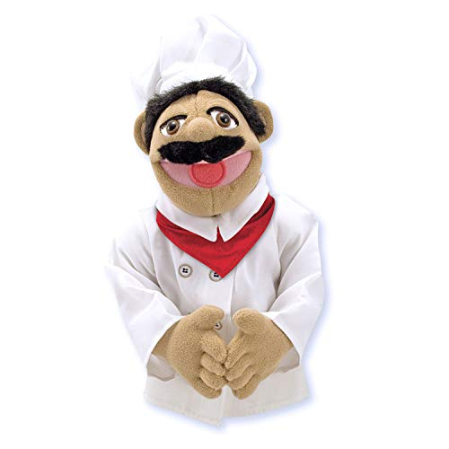 "Melissa & Doug Chef Puppet with Detachable Wooden Rod (Puppets & Puppet Theaters, Animated Gestures, Inspires Creativity, 15"" H x 5"" W x 6.5"" -"