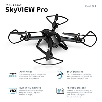Amcrest A6-B Skyview Pro RC WiFi Drone with Camera HD 720p FPV Quadcopter Drone with Camera for Adults, 2.4ghz WiFi Helicopter w/Remote Control, Stunt Flip, Headless Mode, Smartphone (Black)
