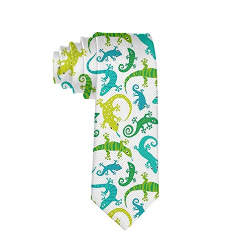 MrDecor Cute Lizards Animals Necktie Gift Fashion Silk Ties for Men Teen Boys