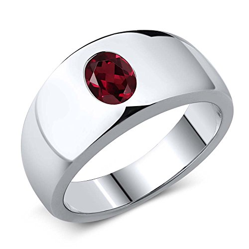 Gem Stone King 1.40 Ct Oval Red VS Rhodolite Garnet 925 Sterling Silver Men's Ring (Size 12)