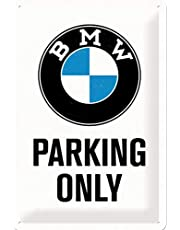 Nostalgic-Art Retro Tin Sign – BMW – Parking Only White – Gift idea for car accessoires fans, Metal Plaque, Vintage design for decoration, 20 x 30 cm
