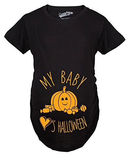 Maternity My Baby Loves Halloween Cute Pumpkin Pregnancy Halloween Tshirt (Black) -