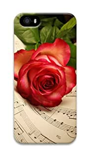 iPhone 5 5S Case, Armener Personalized Custom Hard Protective 3D Durable Case for iPhone 5 5S-Red Rose and Musical Note
