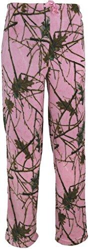 Trail Crest Women's Ultra Soft Coral Fleece Camo Lounge Pajama Pants - Sleepwear W/ Happy Hunting Magnet, XL, Pink Camo