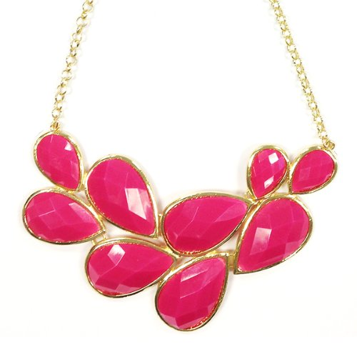 Wrapables Drop Shape Statement Necklace, Hot Pink