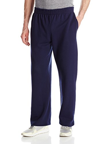 (Fruit of the Loom Men's Pocketed Open-Bottom Sweatpant, Navy, Large)