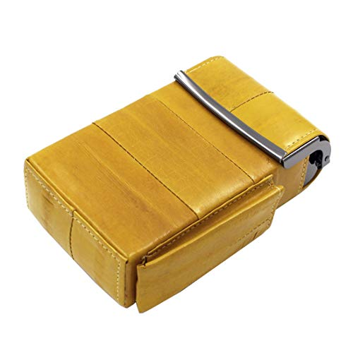 - Automatic Rising Genuine Eel Skin Leather Sliding Cigarette Case with Lighter Holder (Yellow)