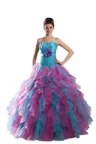 Vogue007 Womens Strapless Pongee Satin 3 Color Organza Wedding Dress, ColorCards, 16 by Unknown