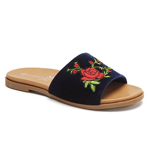CIOR Women's Fashion Rose Floral Embroidered Patch Slip On Flip Flop Slippers Flat Slide Sandals SK07 Navy 41