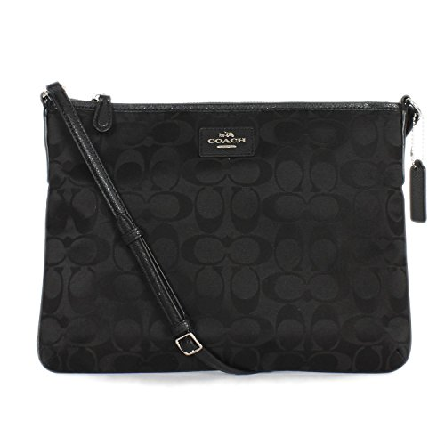 Coach 35454 Signature Nylon Ipad Crossbody Bag Black