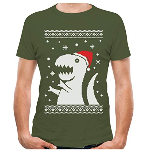 TeeStars - Big Trex Santa Ugly Christmas Sweater - Funny Xmas T-Shirt X-Large Olive