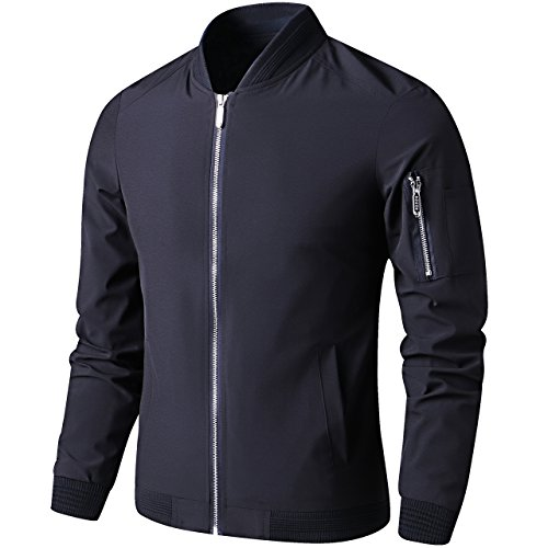 LTIFONE Mens Casual Jacket Zip Up Lightweight Bomber Flight Sportswear Jacket Windbreaker Softshell With Ribbing Edge(Black,L)