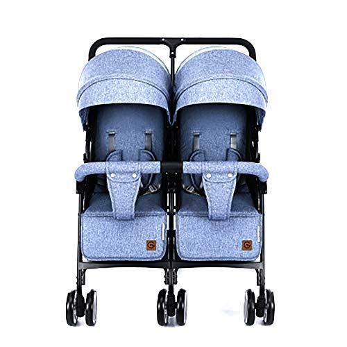 WJSWYE Double Strollers Baby Pram Tandem Buggy Newborn Pushchair Ultra Light Folding Child Shock Absorber Trolley Can Sit Half Lying 0-3 Years Old(Maximum Load 45kg),Denimblue