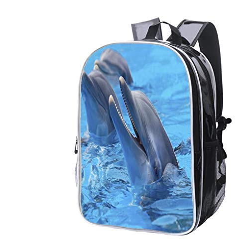 High-end Custom Laptop Backpack-Leisure Travel Backpack Happy Dolphins Water Resistant-Anti Theft - Durable -Ultralight- Classic-School-Black ()