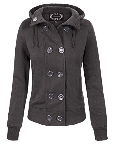 Instar Mode Women's Casual Double Breasted Hooded Fleece Pea Coat Jacket (S-3X) Charcoal L