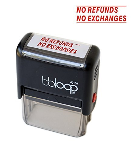 """BBloop Stamp """"NO REFUNDS, NO EXCHANGES"""" Self-Inking. Laser Engraved. RED"""
