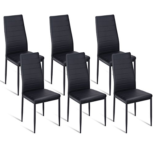 Giantex Dining Side Chairs Set of 6 High Back PU Leather Elegant Design Home Kitchen Furniture Black (6)
