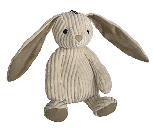 Petlou Durable Corduroy Rabbit Dog and Cat Toys with Multi-Squeaks and Crinkle Paper.15-Inch Creamy White Colour