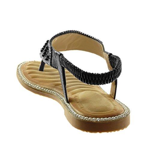 Angkorly Damen Schuhe Sandalen Flip-Flops - Slip-On - T-Spange - Knöchelriemen - Strass - Fantasy - Perle Blockabsatz 1 cm Schwarz