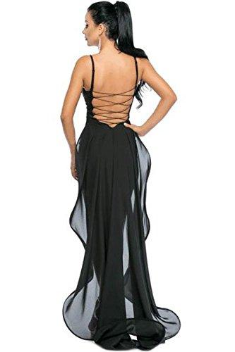 Elegante mujer negro encaje hasta Back lentejuelas noche cóctel Prom Vestido de fiesta Dance Club Wear talla M 10–�?2