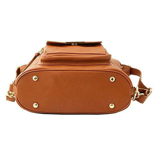 Tuscany Leather TL Bag - Bolso de señora en piel convertible en mochila - TL141535 (Marrón oscuro) Marrón oscuro