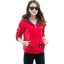 Kmety Women's Thermal Fleece Zip-Up Sweatshirt Cat Pocket Hoodie