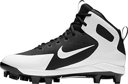 Nike Herren Alpha Huarache Pro Mid Baseball Klampen uns schwarz / weiß