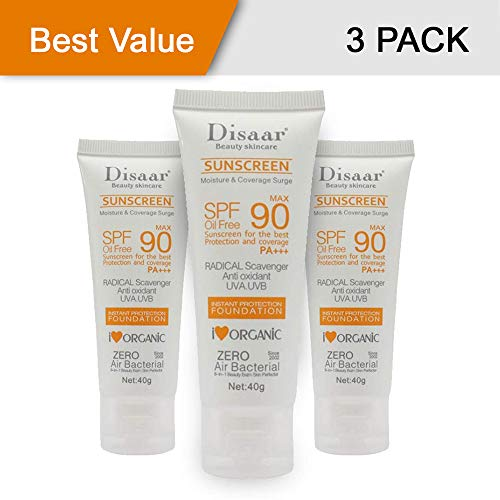[3 PACK] Sunscreen Cream SPF 90 Sunblock Moisturizing Skin Protect Sunblock Face Care Prevents Skin Damage, Removes Pigmentation 40g
