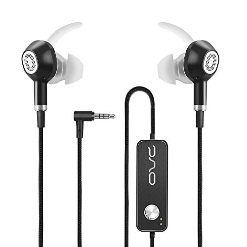 OVC Active Noise Cancelling Earbuds Headphones Wired in Ear Earphones - 60 Hours ANC Playtime, Dual Driver, Bass Enhancement, Volume Control with Microphone, 3.5mm Plug for Android (Black)