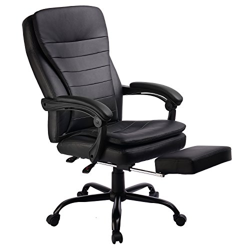 Office Chair High Back Racing chair Style Recliner Big Tall Napping Chair with Footrest Black