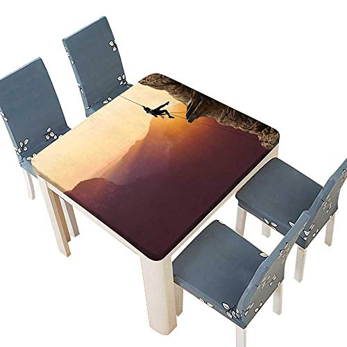PINAFORE 100% Polyester Luxury Tablecloth Rock Climbing in The Setting Sun Indoor Outdoor Use 65 x 65 INCH (Elastic Edge)