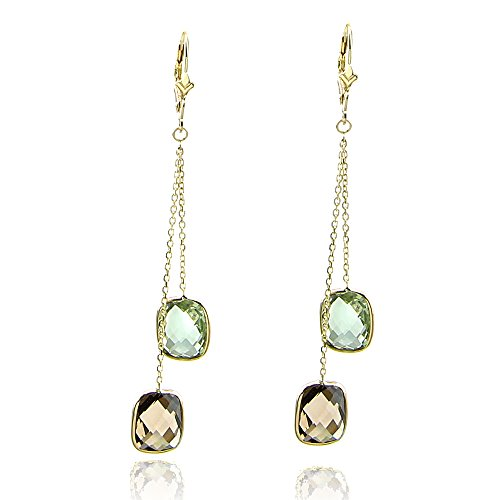 14k Yellow Gold Chandelier Gemstone Earrings with Cushion Cut Green And Smoky Quartz (Earrings Smoky Chandelier Topaz)